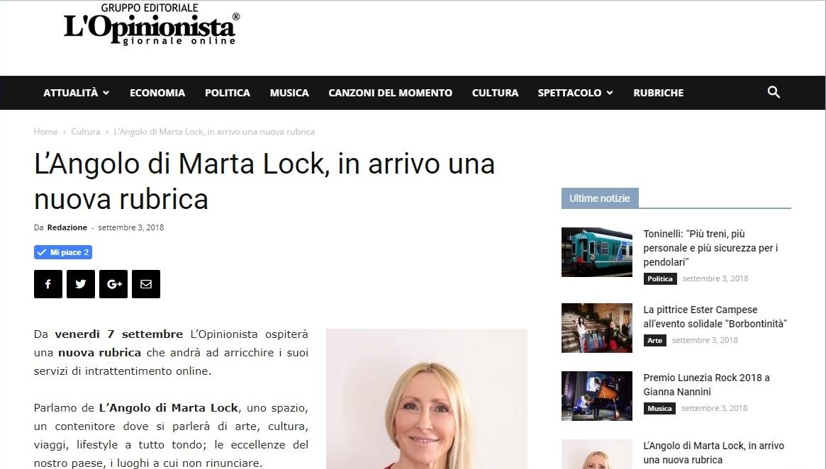 L'Angolo di Marta Lock su L'Opinionista