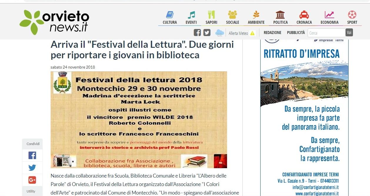 Articolo Orvietonews 24-11-18