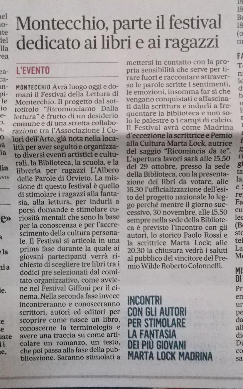 Articolo Il Messaggero 29-11-18